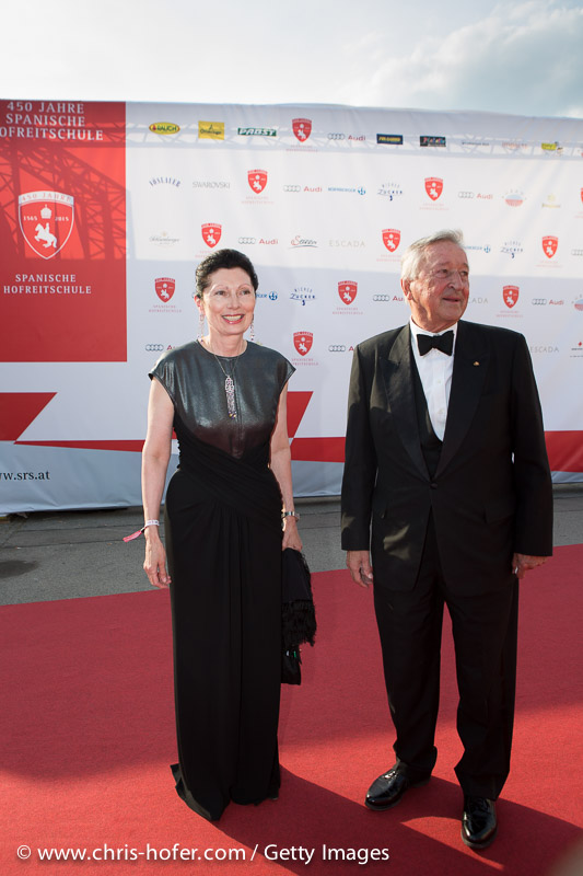 VIENNA, AUSTRIA - JUNE 26: Margot Klestil-Löffler with Gustav Ortner attend the gala event 450 years Spanische Hofreitschule on June 26, 2015 in Vienna, Austria.  (Photo by Chris Hofer/Getty Images)