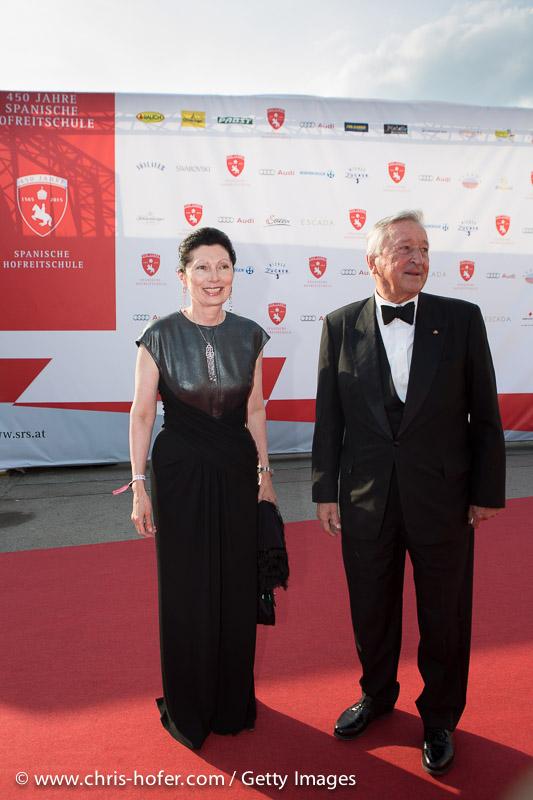 VIENNA, AUSTRIA - JUNE 26: Margot Klestil-Löffler with Gustav Ortner attend the gala event 450 years Spanische Hofreitschule on June 26, 2015 in Vienna, Austria.  (Photo by Chris Hofer/Getty Images)