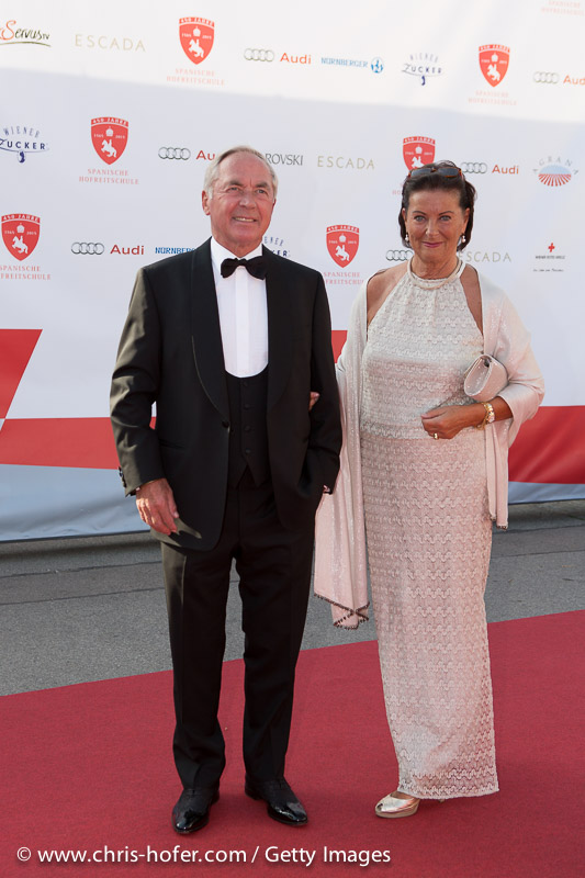 VIENNA, AUSTRIA - JUNE 26: Karl Schranz and his wife attend the gala event 450 years Spanische Hofreitschule on June 26, 2015 in Vienna, Austria.  (Photo by Chris Hofer/Getty Images)
