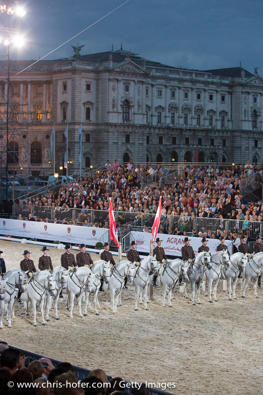 VIENNA, AUSTRIA - JUNE 26: Presentation of the Spanish Riding School Lippizaner Horses at the gala event 450 years Spanische Hofreitschule on June 26, 2015 in Vienna, Austria.  (Photo by Chris Hofer/Getty Images)