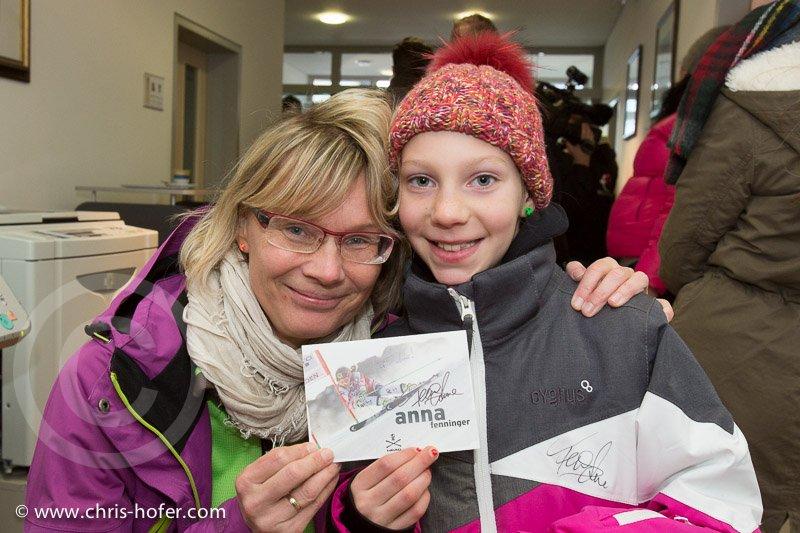 Anna Fenninger Empfang in Adnet, 2015-02-14, Foto: Chris Hofer, Bild zeigt: Christine Ziller, Lena Ziller