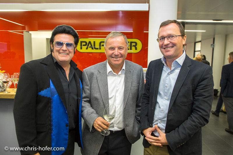 Eröffnung Palfinger Zentrale Bergheim, 2015-09-25, Foto: Chris Hofer, Bild zeigt: Rudi Stumbecker (Rusty), Hubert Palinger, Alexander Pappas