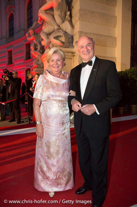 VIENNA, AUSTRIA - JUNE 26: Governor of Lower Austria Erwin Proell with his wife Elisabeth attend the Fete Imperiale 2015 on June 26, 2015 in Vienna, Austria.  (Photo by Chris Hofer/Getty Images)
