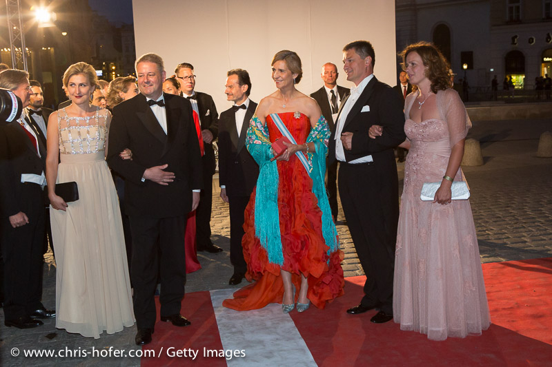 VIENNA, AUSTRIA - JUNE 26: Princess Elena of Spain with entourage and Federal Minister of Agriculture Andrae Rupprechter with his wife Christine attend the Fete Imperiale 2015 on June 26, 2015 in Vienna, Austria.  (Photo by Chris Hofer/Getty Images)