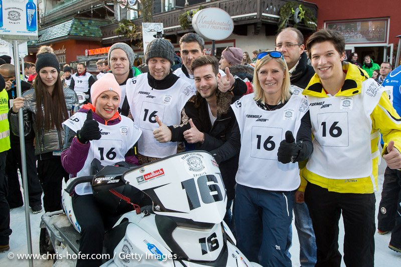 SAALBACH-HINTERGLEMM, AUSTRIA - DECEMBER 05:   The Team with Heather Mills (sitting), Stefan Koubek, Andrea Fischbacher, Antonio Liuzzi, Florian Straschil and Philip Eng during the third and final day of the Formula Snow 2015 ski opening on December 5, 2015 in Saalbach-Hinterglemm, Austria.  (Photo by Chris Hofer/Getty Images)