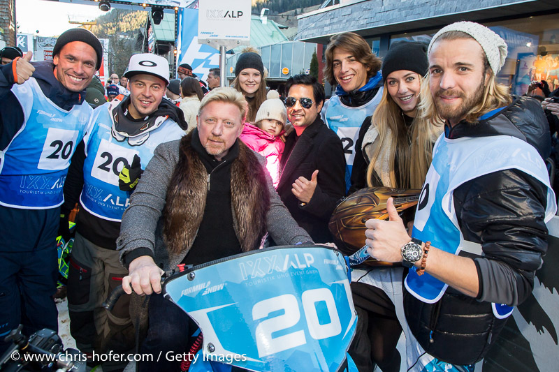 SAALBACH-HINTERGLEMM, AUSTRIA - DECEMBER 05:   Boris Becker with the IXXALP team members during the third and final day of the Formula Snow 2015 ski opening on December 5, 2015 in Saalbach-Hinterglemm, Austria.  (Photo by Chris Hofer/Getty Images)