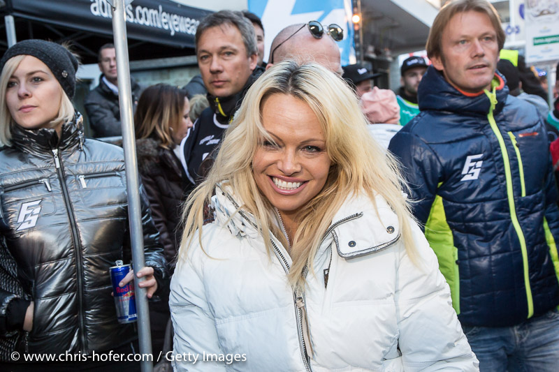 SAALBACH-HINTERGLEMM, AUSTRIA - DECEMBER 05:   Pamela Anderson during the third and final day of the Formula Snow 2015 ski opening on December 5, 2015 in Saalbach-Hinterglemm, Austria.  (Photo by Chris Hofer/Getty Images)