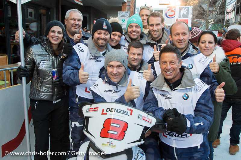 SAALBACH-HINTERGLEMM, AUSTRIA - DECEMBER 05:   BMW Denzel Wien team members - Guenter Kalina, Hans Enn, Christian Iser, Manfred Stohl, Manfred Pfeiffenberger and Alexander Bayer during the third and final day of the Formula Snow 2015 ski opening on December 5, 2015 in Saalbach-Hinterglemm, Austria.  (Photo by Chris Hofer/Getty Images)