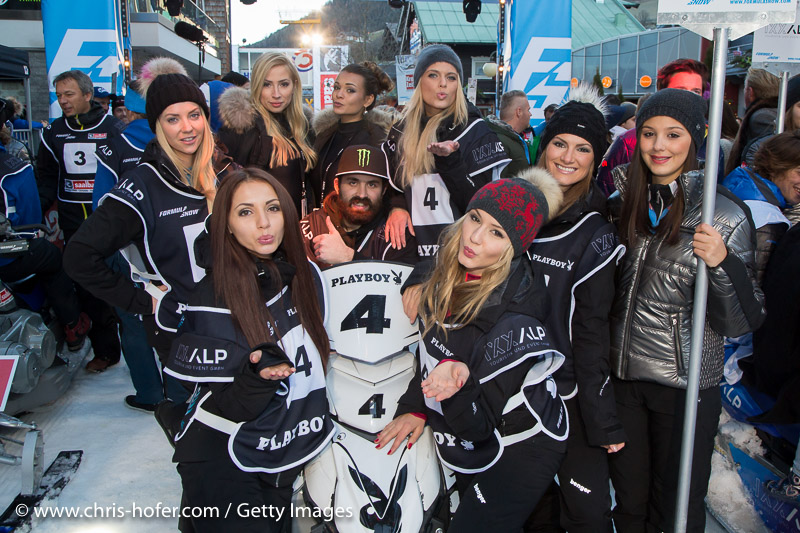 SAALBACH-HINTERGLEMM, AUSTRIA - DECEMBER 05:   Team Playbox Mintanine members Verena Stangl, Nicole Schumann, Antonia Petrova, Annetta Negare, Sarah Domke and Daria Eppert during the third and final day of the Formula Snow 2015 ski opening on December 5, 2015 in Saalbach-Hinterglemm, Austria.  (Photo by Chris Hofer/Getty Images)