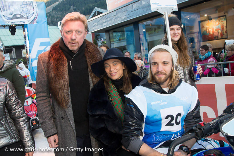 SAALBACH-HINTERGLEMM, AUSTRIA - DECEMBER 05:   Boris Becker with wife Lilly during the third and final day of the Formula Snow 2015 ski opening on December 5, 2015 in Saalbach-Hinterglemm, Austria.  (Photo by Chris Hofer/Getty Images)