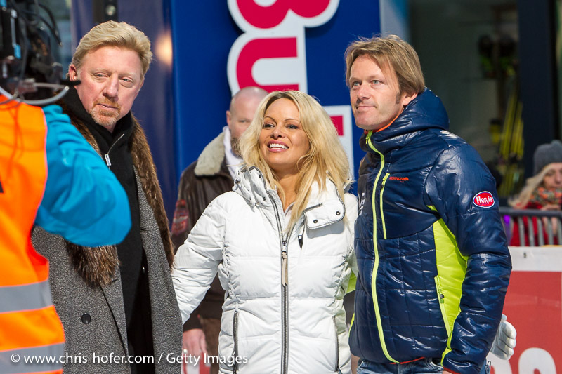 SAALBACH-HINTERGLEMM, AUSTRIA - DECEMBER 05:   Boris Becker, Pamela Anderson and event promoter Andy Wernig during the third and final day of the Formula Snow 2015 ski opening on December 5, 2015 in Saalbach-Hinterglemm, Austria.  (Photo by Chris Hofer/Getty Images)