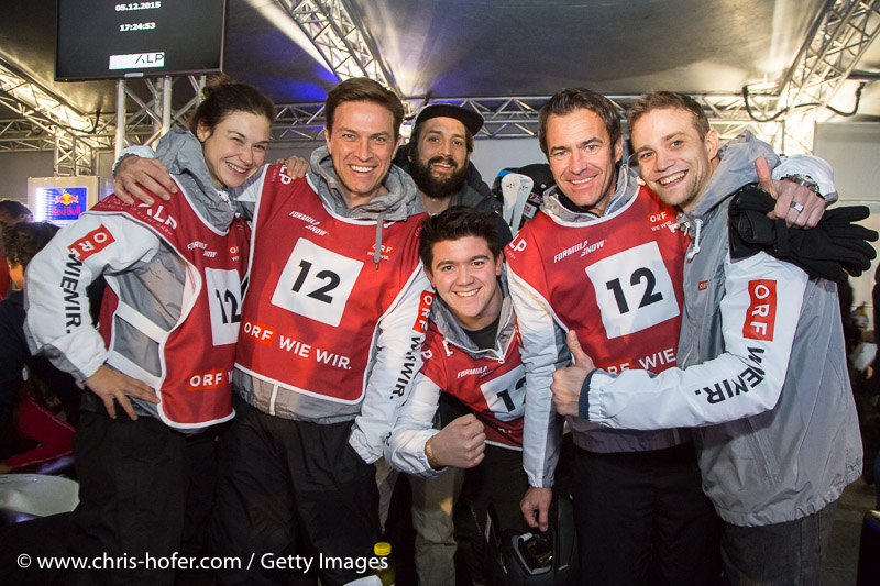 SAALBACH-HINTERGLEMM, AUSTRIA - DECEMBER 05:   ORF. Wie wir. team members Christina Karnicnik, Ulf Puxbaumer, Robert Steiner, Stefan Gehrer, Michael Steinocher, Raphael Lipp and Maximilian Stoeger during the third and final day of the Formula Snow 2015 ski opening on December 5, 2015 in Saalbach-Hinterglemm, Austria.  (Photo by Chris Hofer/Getty Images)
