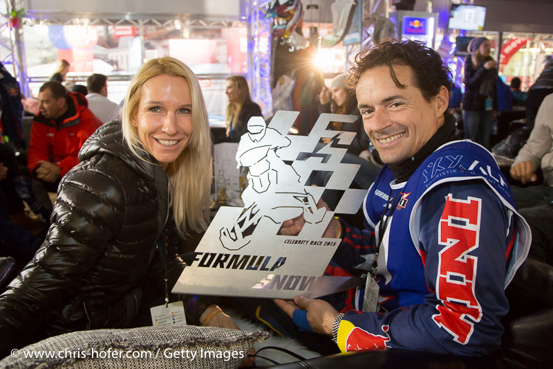 SAALBACH-HINTERGLEMM, AUSTRIA - DECEMBER 05:   Kris Rosenberger (right) with his wife Ursula during the third and final day of the Formula Snow 2015 ski opening on December 5, 2015 in Saalbach-Hinterglemm, Austria.  (Photo by Chris Hofer/Getty Images)