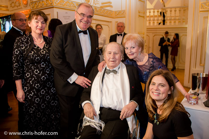 VIENNA, AUSTRIA - MARCH 19: Wolfgang Brandstetter with his wife Christine and Sarah Wiener attend Karl Spiehs 85th birthday celebration on March 19, 2016 in Vienna, Austria. (Photo by Chris Hofer/Getty Images)