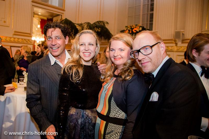 VIENNA, AUSTRIA - MARCH 19: Gregor Bloeb, Nina Proll, Ulrike Beimpold and Simon Schwarz attend Karl Spiehs 85th birthday celebration on March 19, 2016 in Vienna, Austria. (Photo by Chris Hofer/Getty Images)