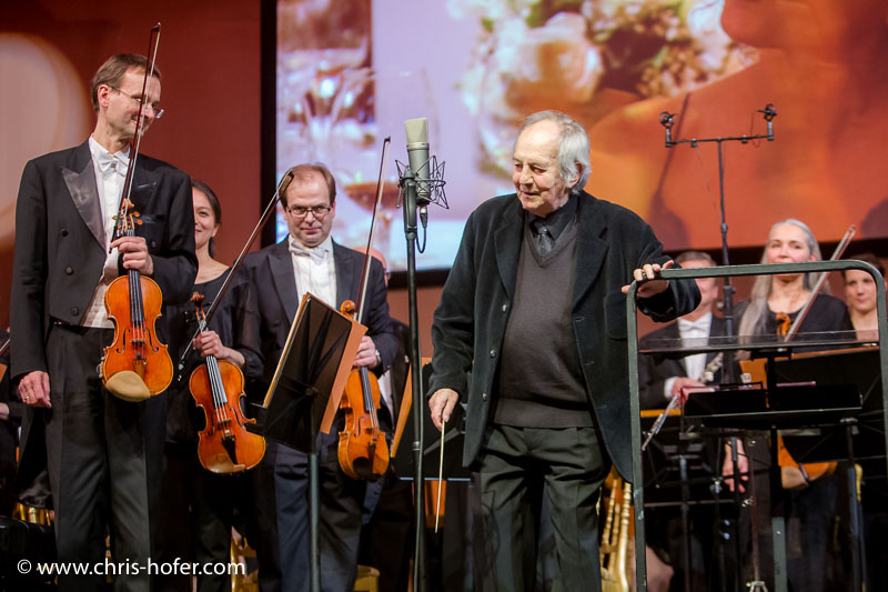 VIENNA, AUSTRIA - MARCH 19: Otto Schenk conducts the Wiener Kammerorchester as a surprise at Karl Spiehs 85th birthday celebration on March 19, 2016 in Vienna, Austria. (Photo by Chris Hofer/Getty Images)