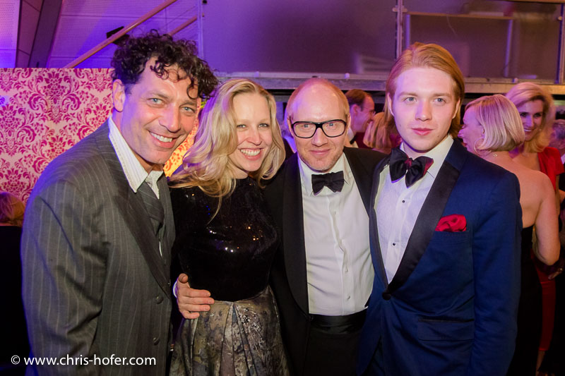 VIENNA, AUSTRIA - MARCH 19: Gregor Bloeb, Nina Proll, Simon Schwarz and his son Samuel Schwarz attend Karl Spiehs 85th birthday celebration on March 19, 2016 in Vienna, Austria. (Photo by Chris Hofer/Getty Images)